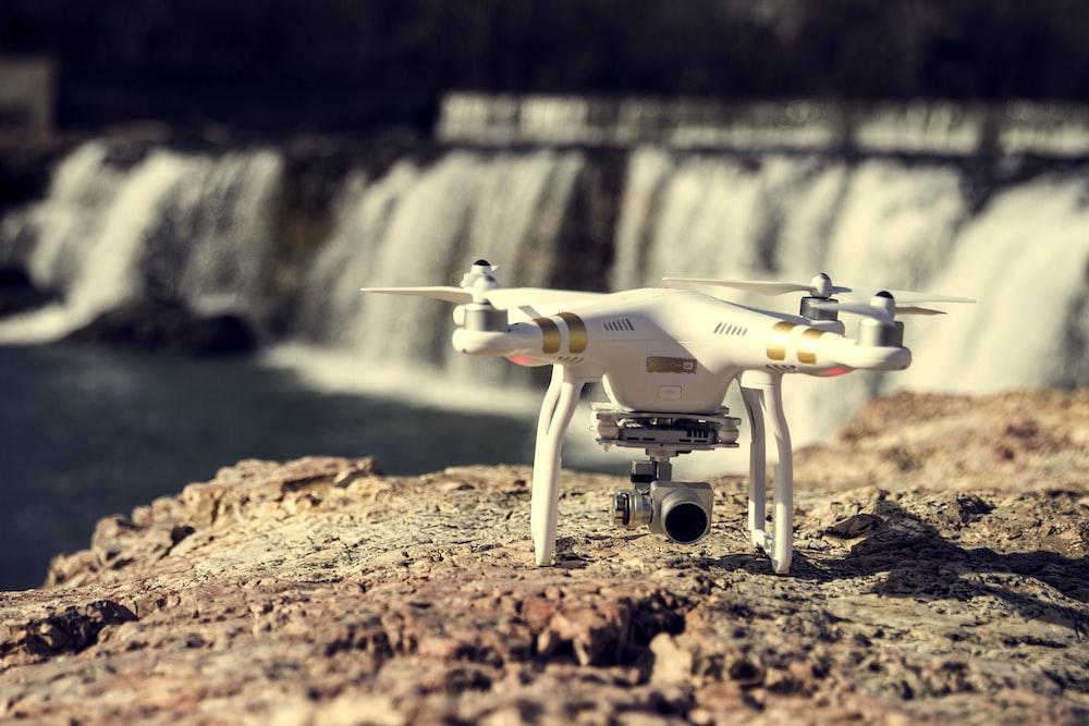 white and gold DJI Phantom Professional quadcopter