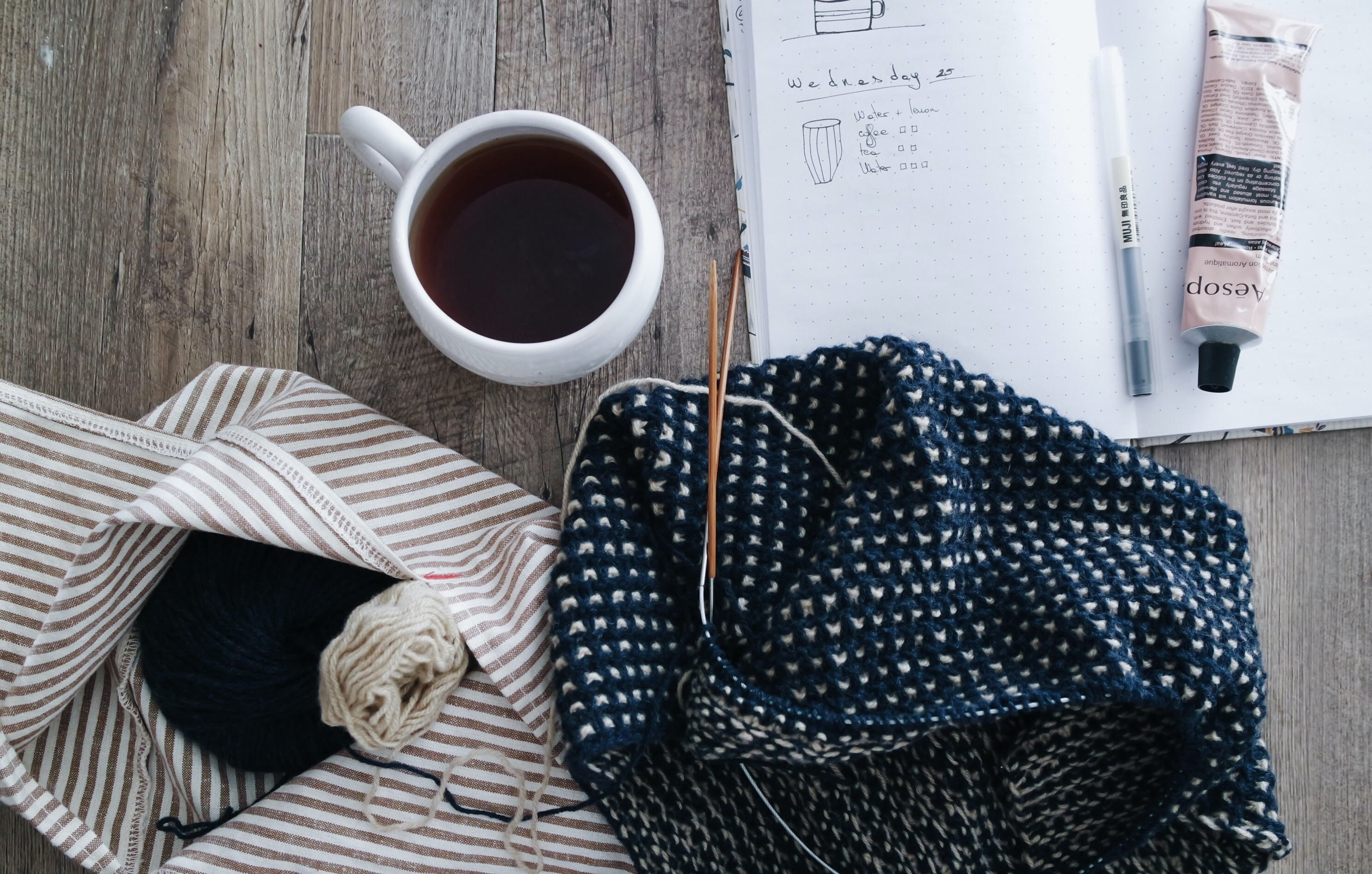 A flatlay with a cup of coffee, an open notebook and a knitting kit