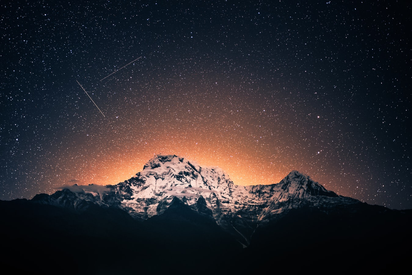 starry sky over mountains in Nepal
