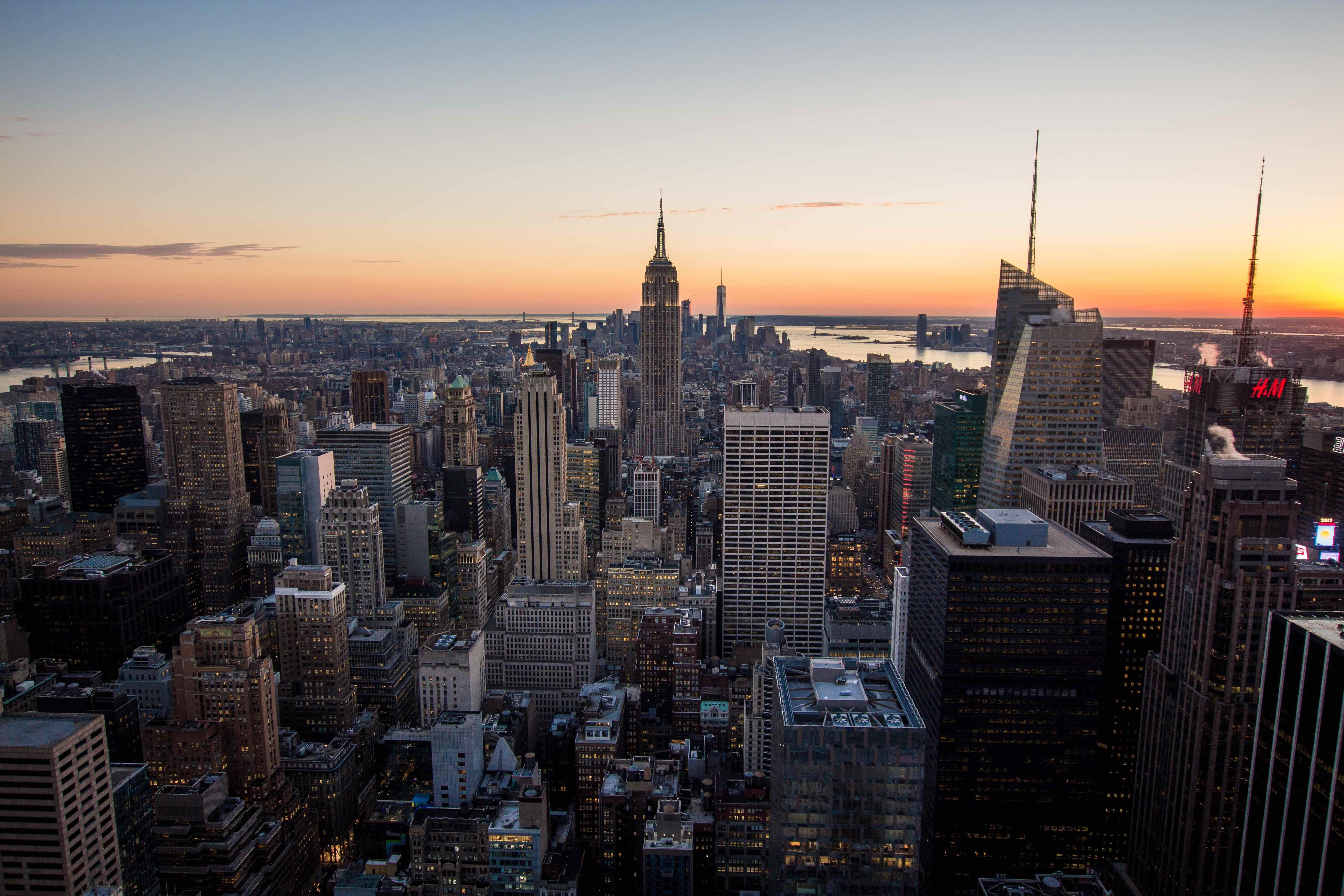 The skyline of Manhattan during sunset