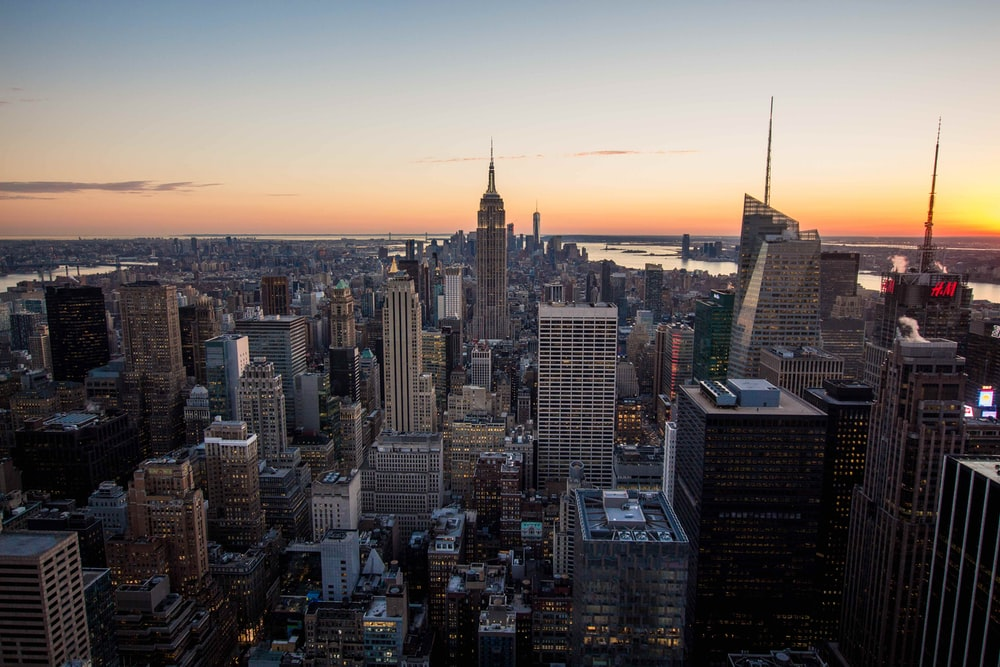aerial photography of high-rise buildings during sunset