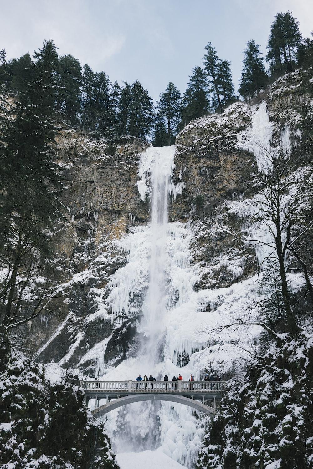 people walking on bridge beside frosted waterfalls during daytime