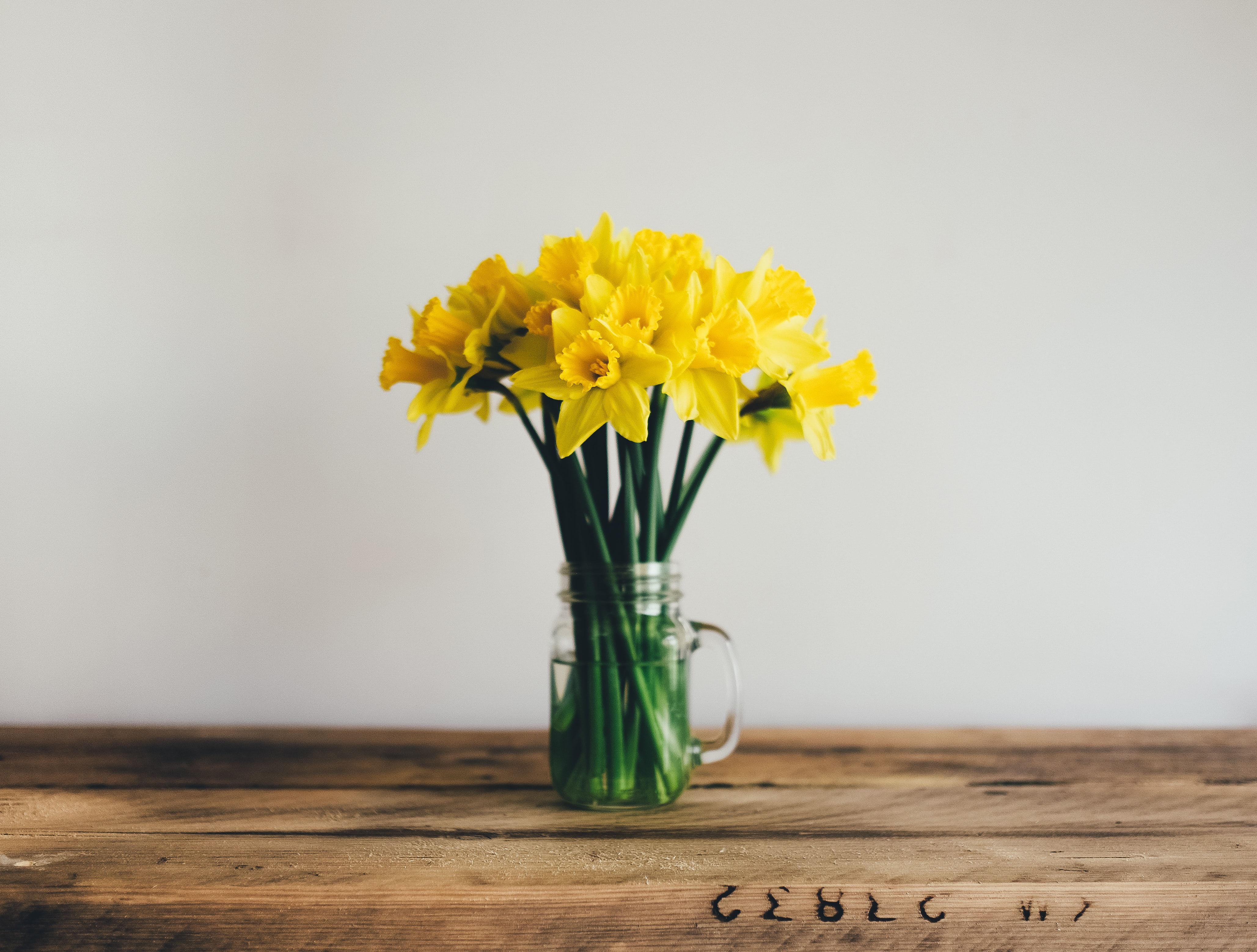 A glass jar with yellow daffodils on a wooden surface
