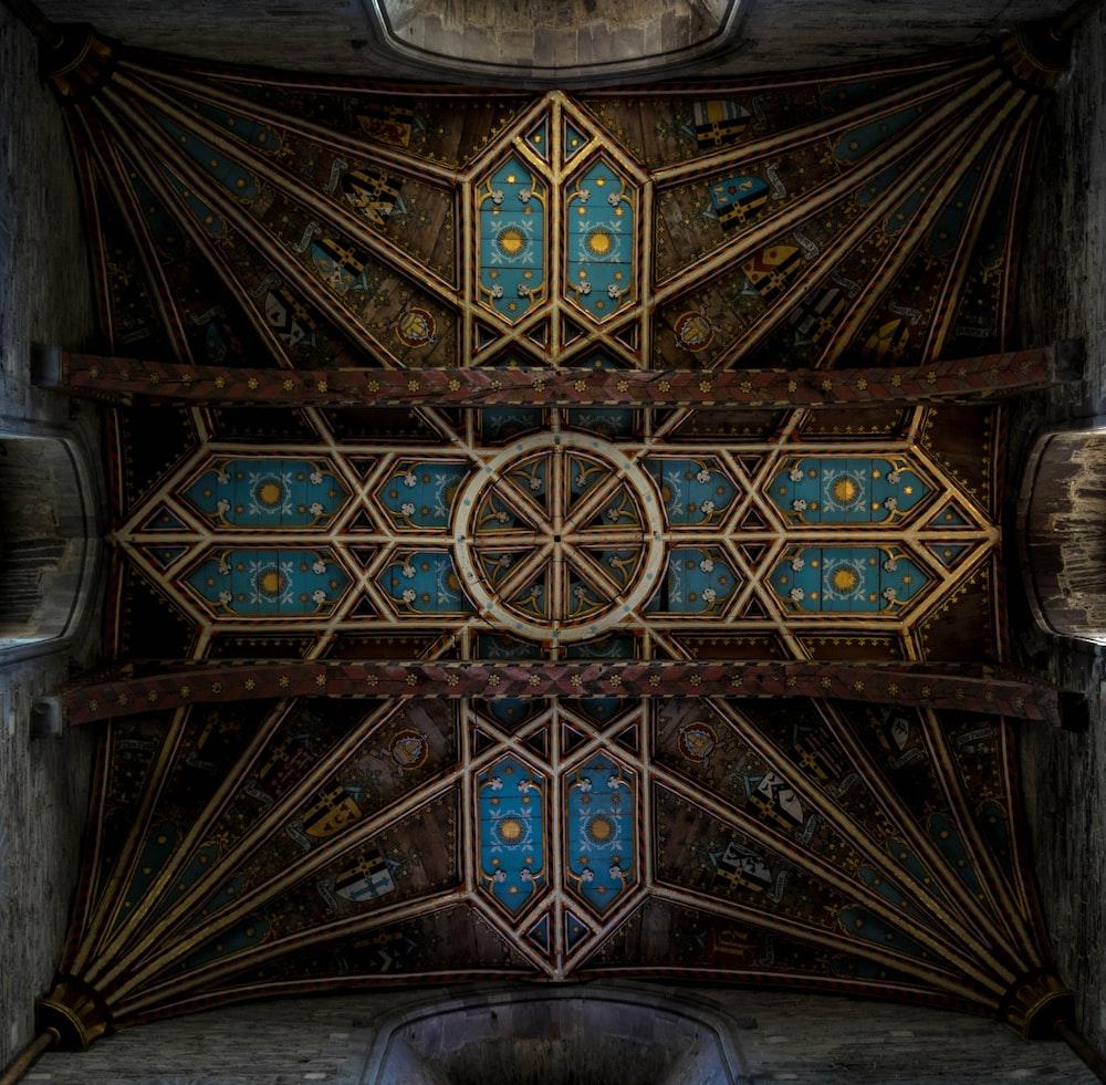 blue and brown cross digital wallpaper