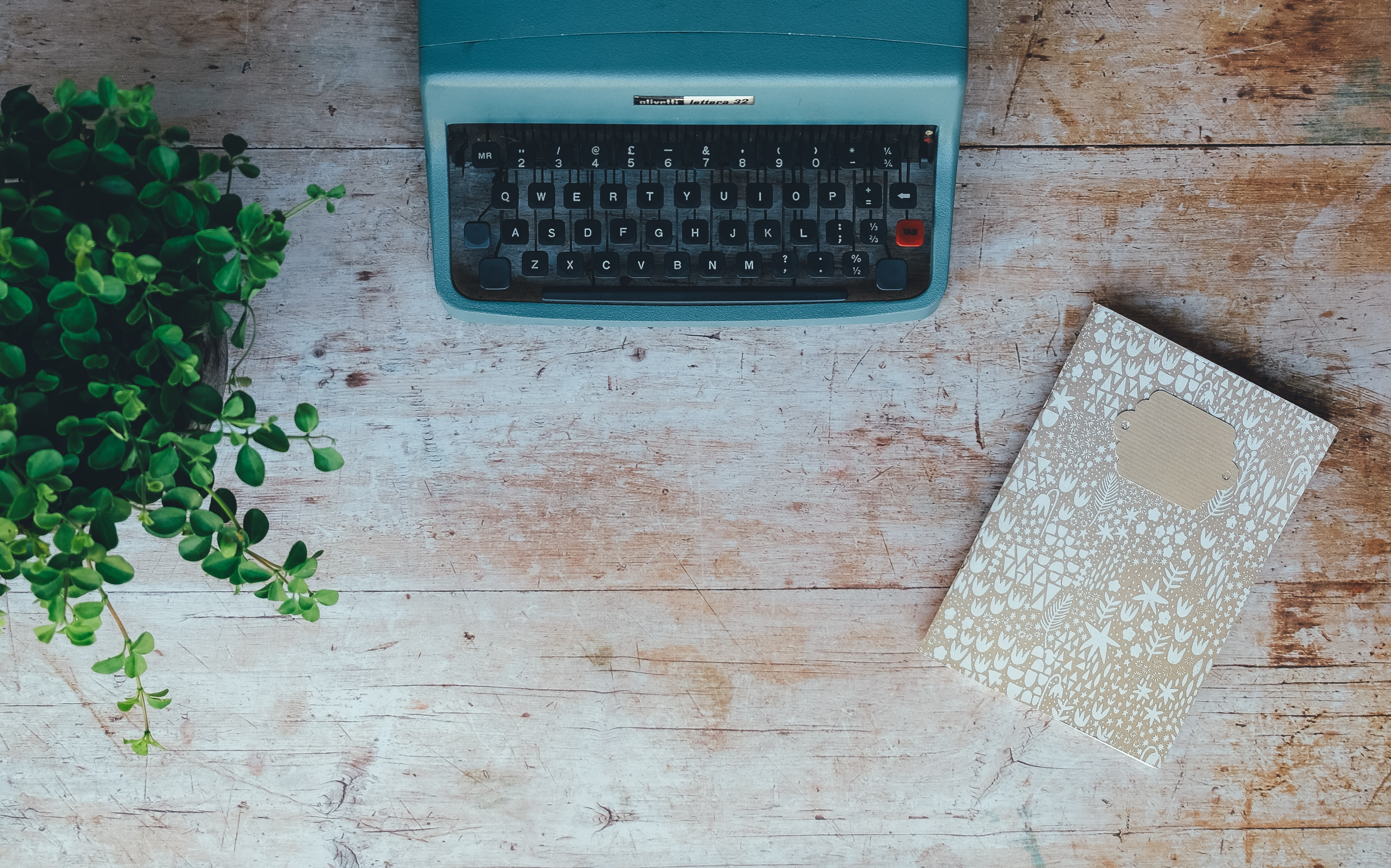 Overhead shot of a turquoise typewriter next to a beige notebook and a plant