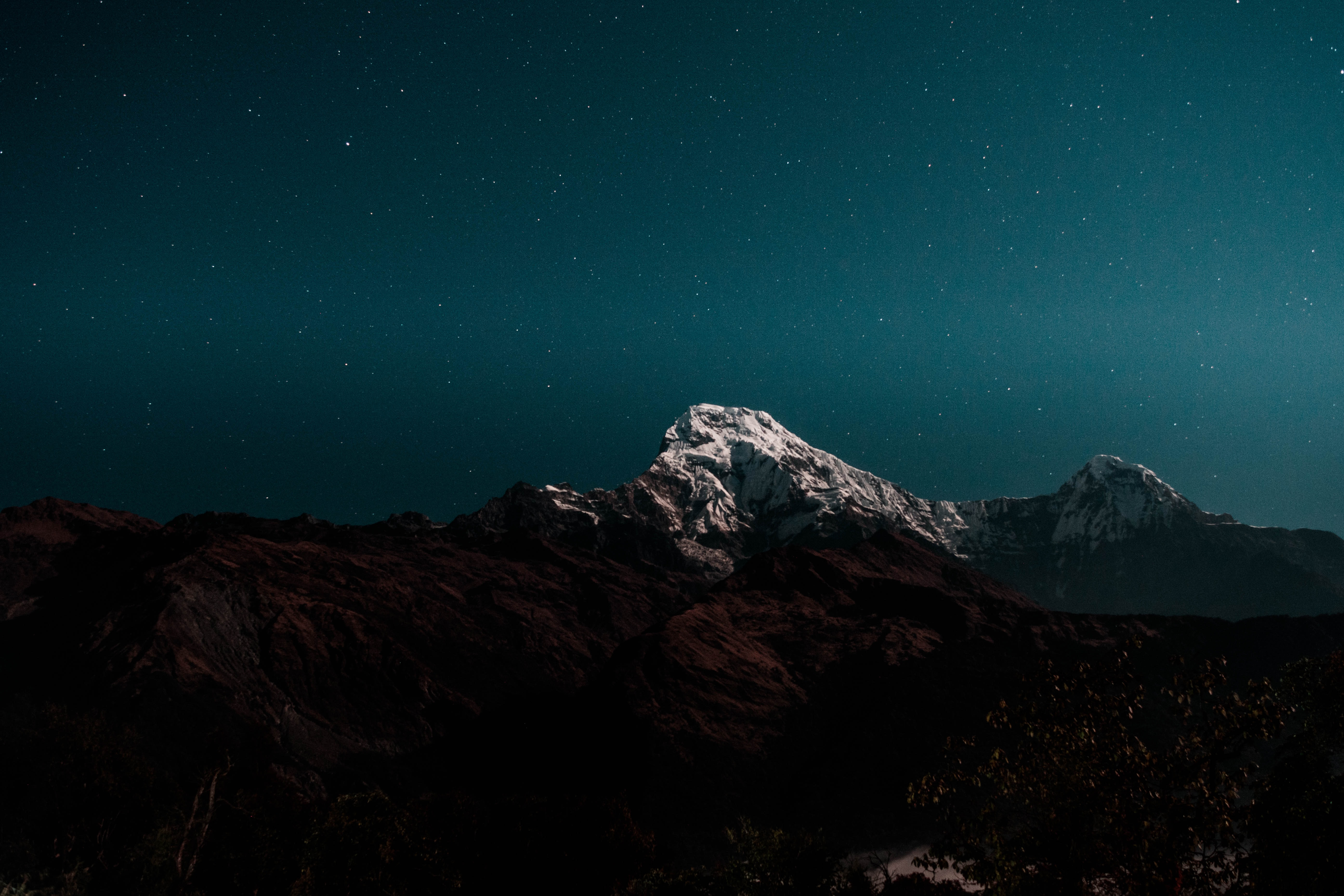 white and brown mountain during nighttime