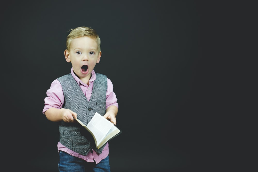 boy wearing gray vest and pink dress shirt holding book