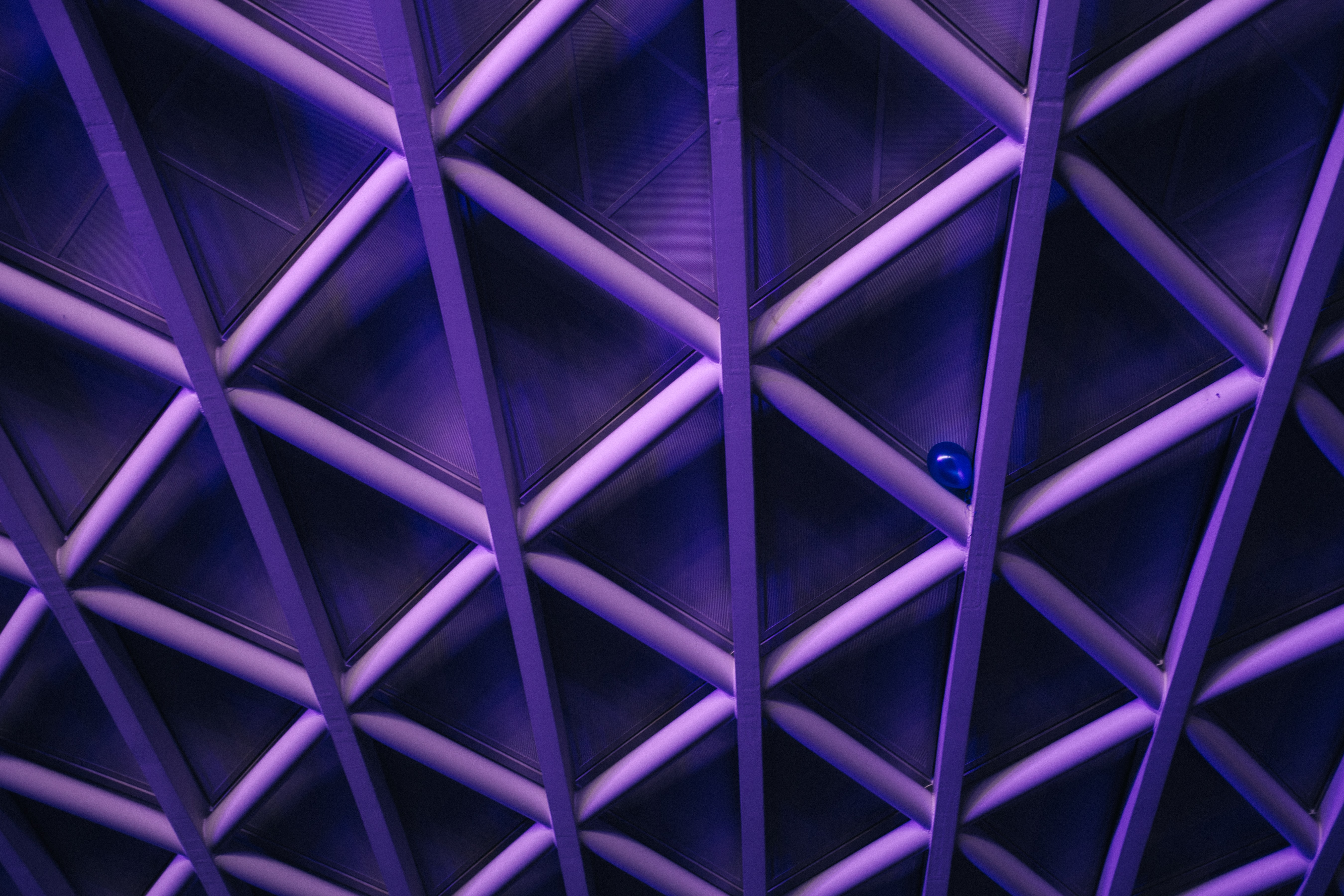 A violet ceiling with a criss-cross pattern; a blue balloon is stuck in the corner one of the crossbars