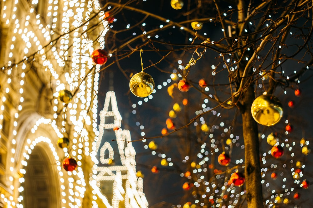 Christmas baubles on tree decor