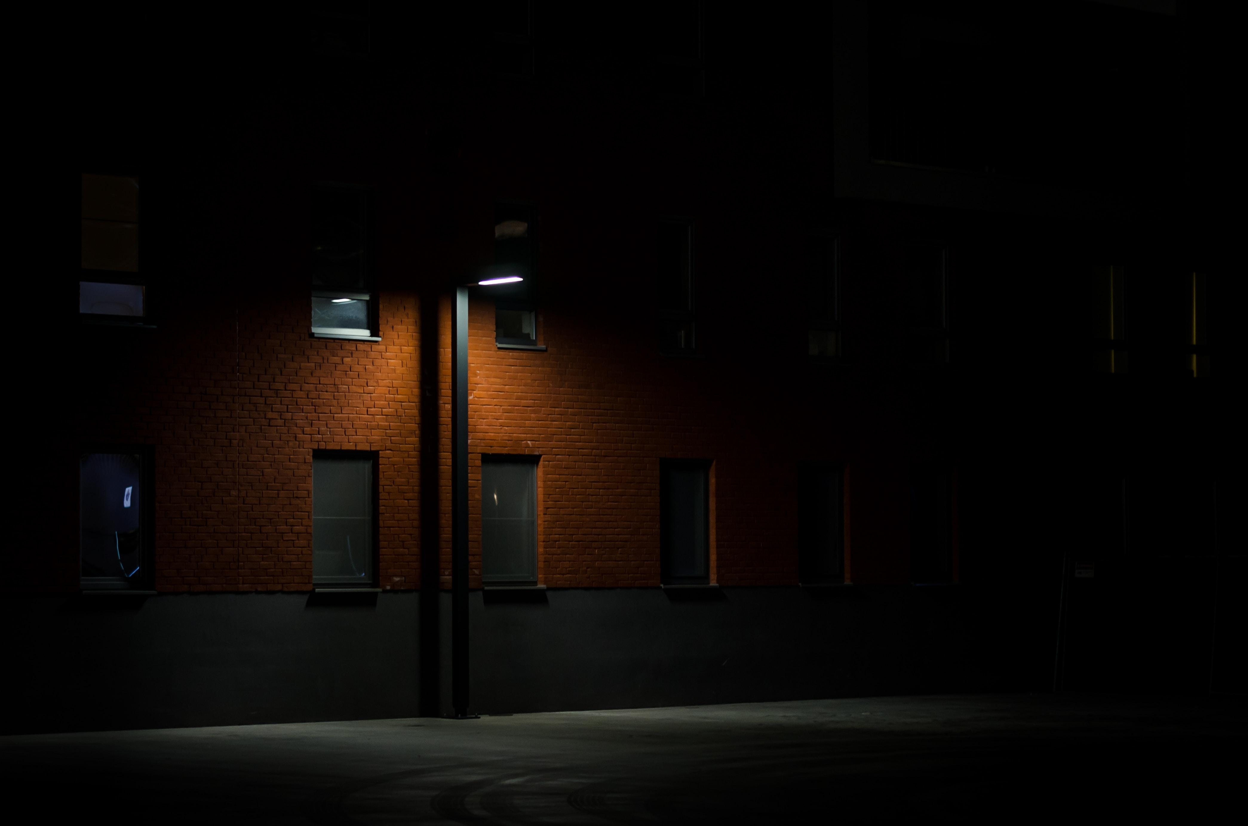 black light post near wall