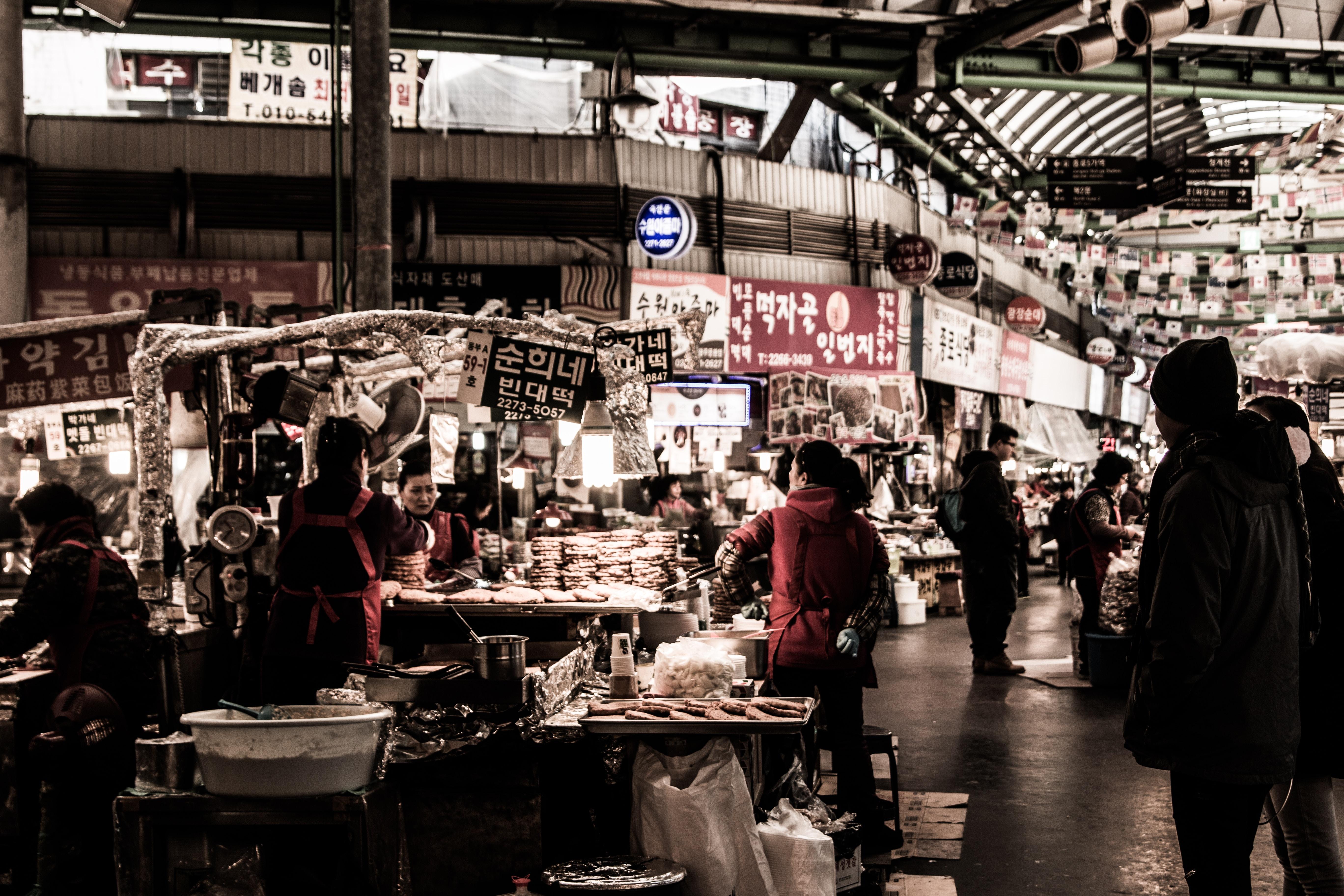 A bustling street market in an Asian city