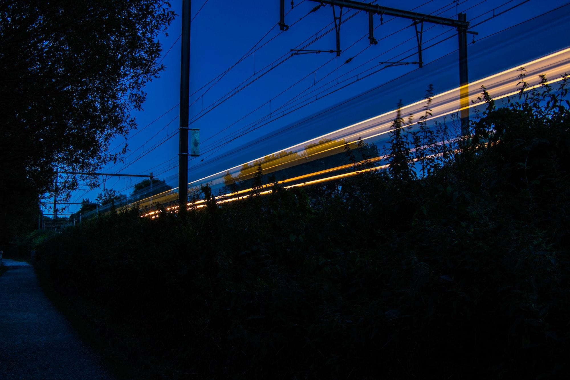 Train track light trail in Jette