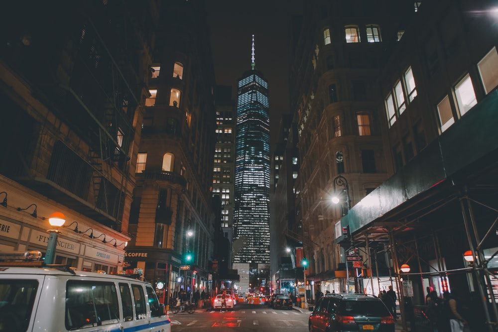 city photo during night time