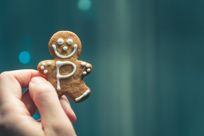 person holding brown cookie gingerbread man zoom background