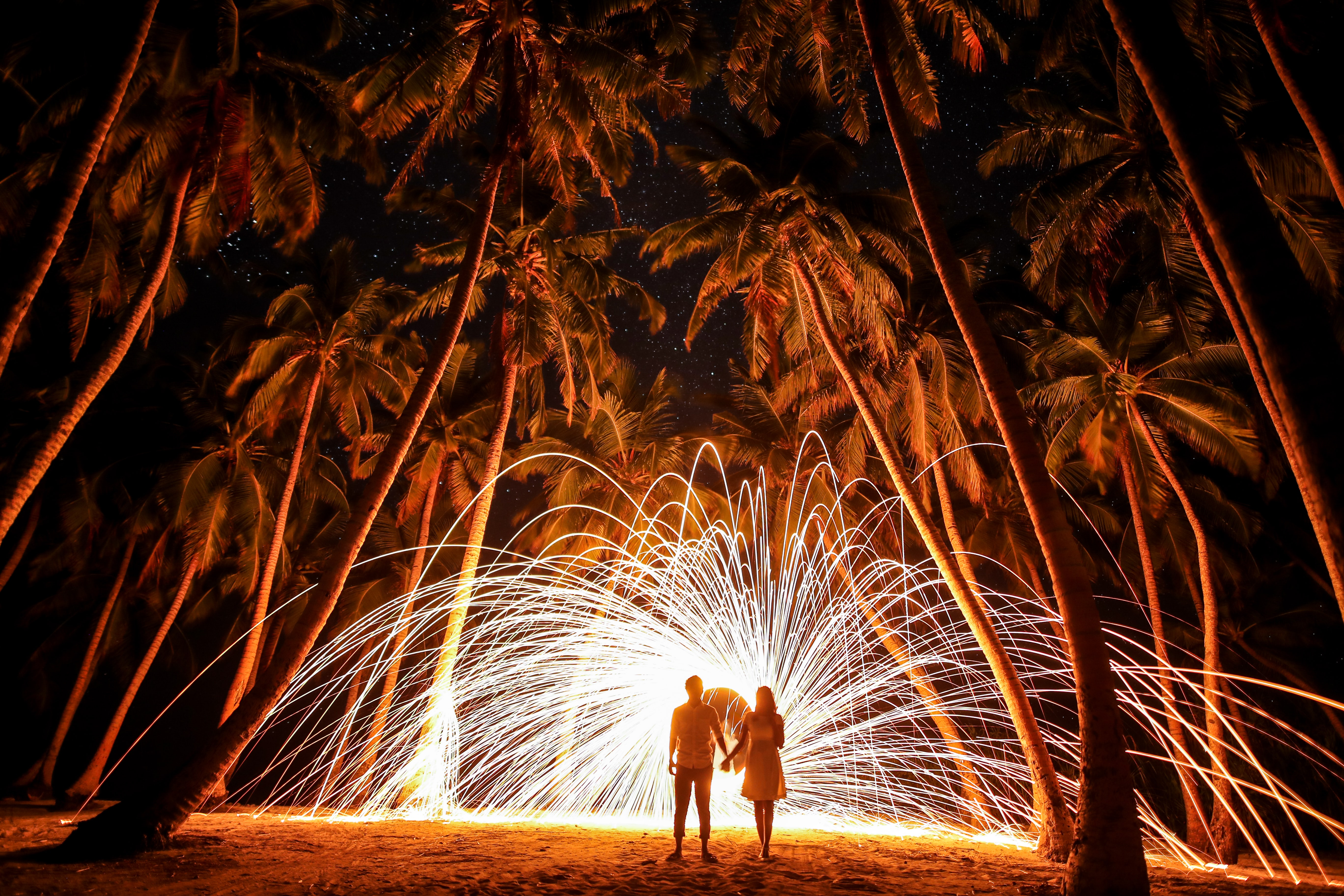 Photo of couple holding hands under palm trees