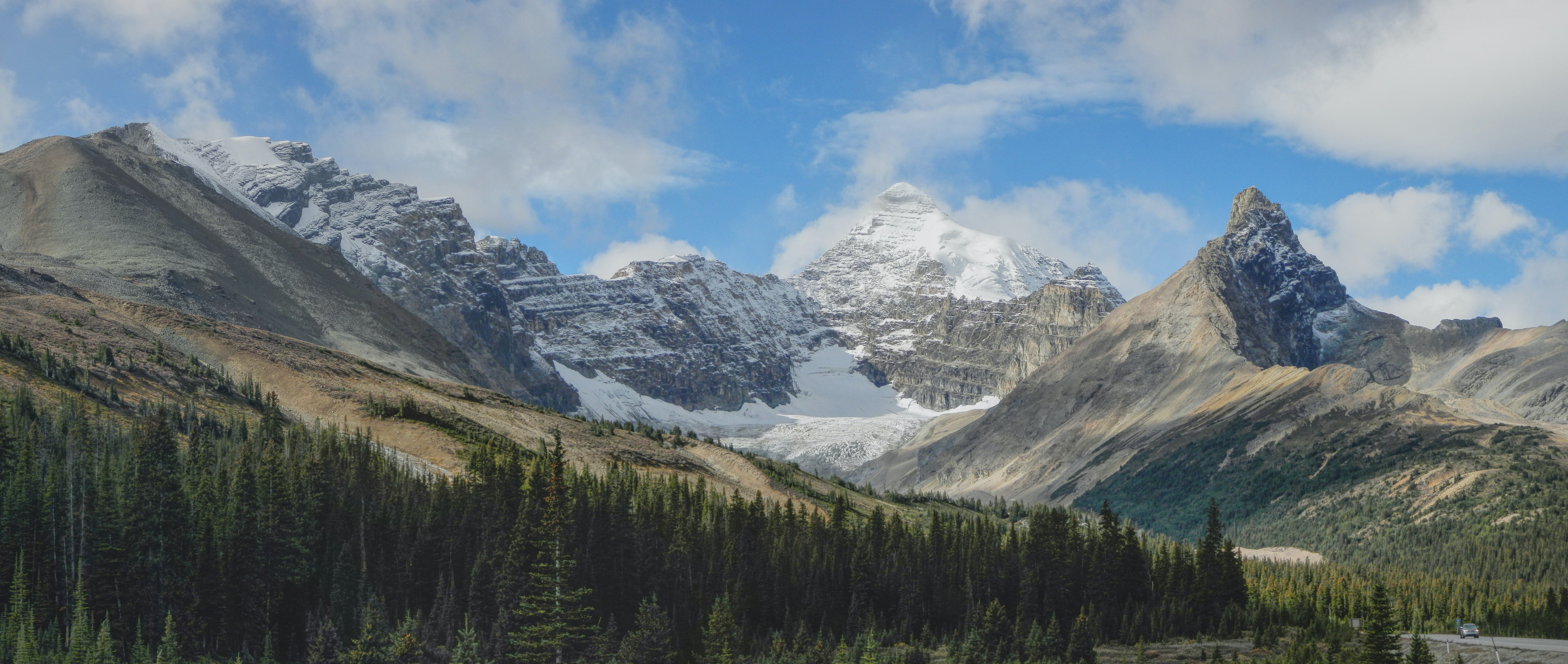 A panoramic shot of a forest at the foot of a mountain range with tall peaks and snowy crests