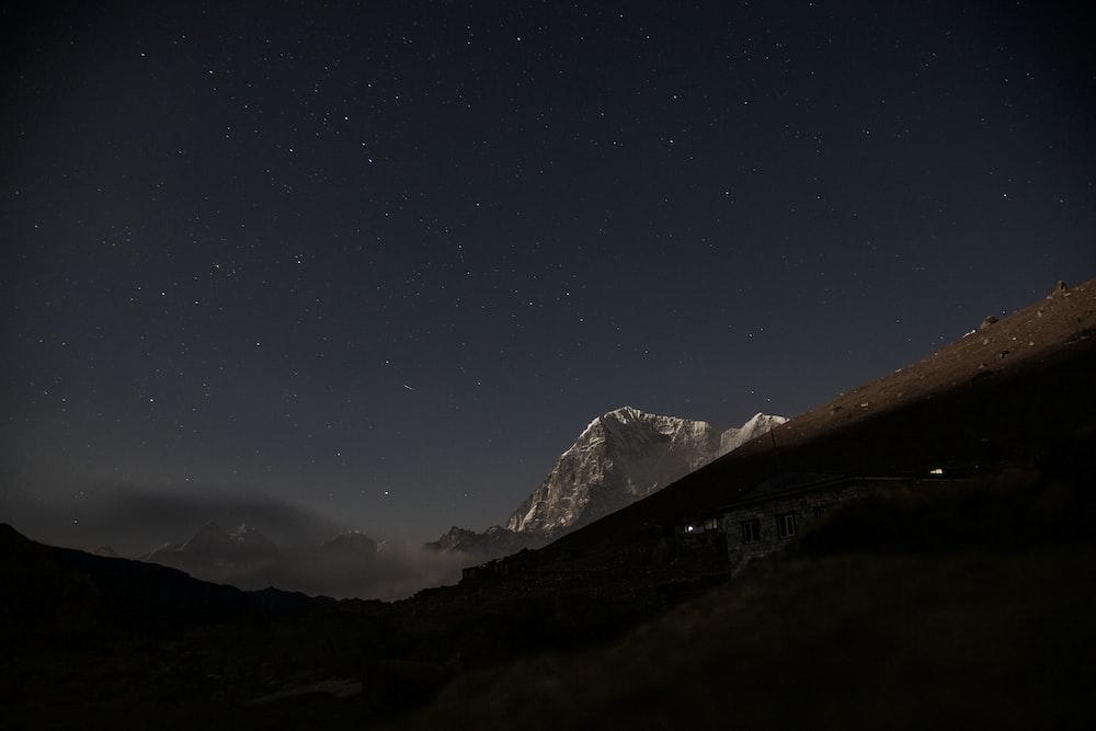mountains at night time