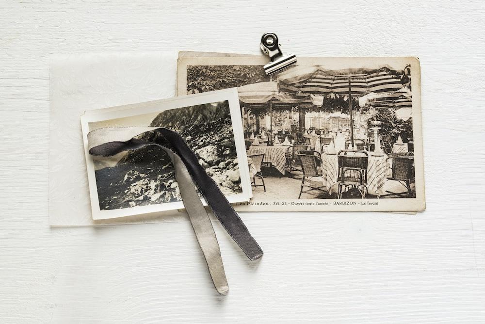 vintage photo on white surface