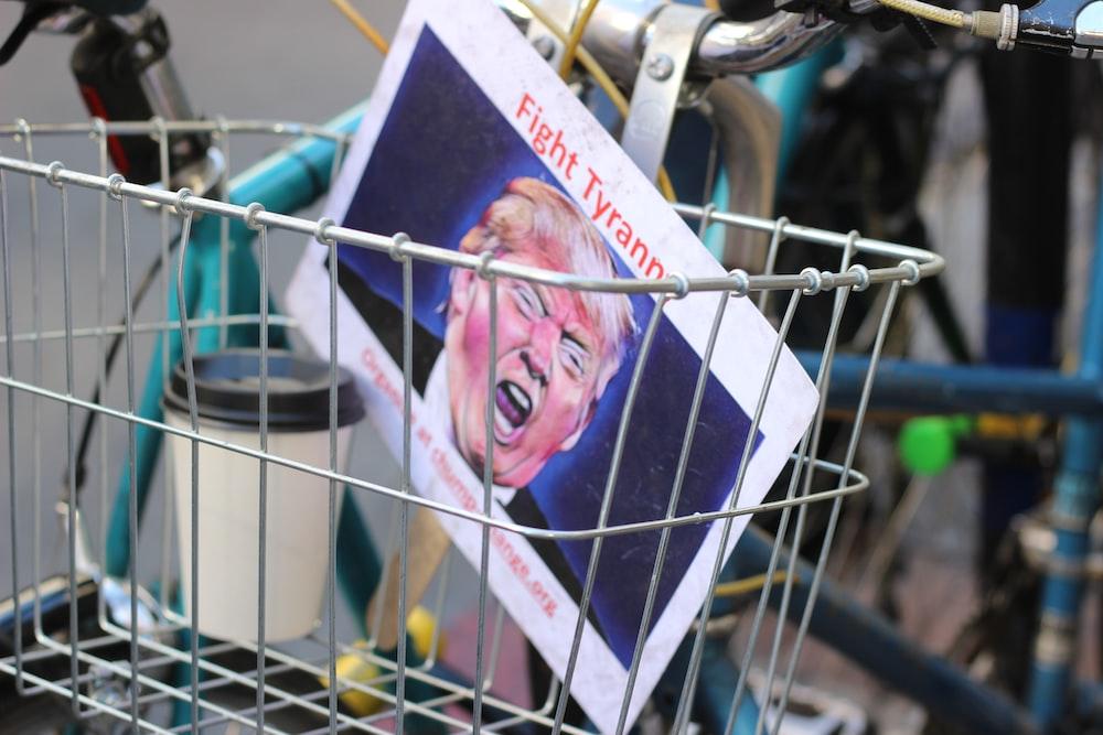 Donald Trump paper inside bicycle basket
