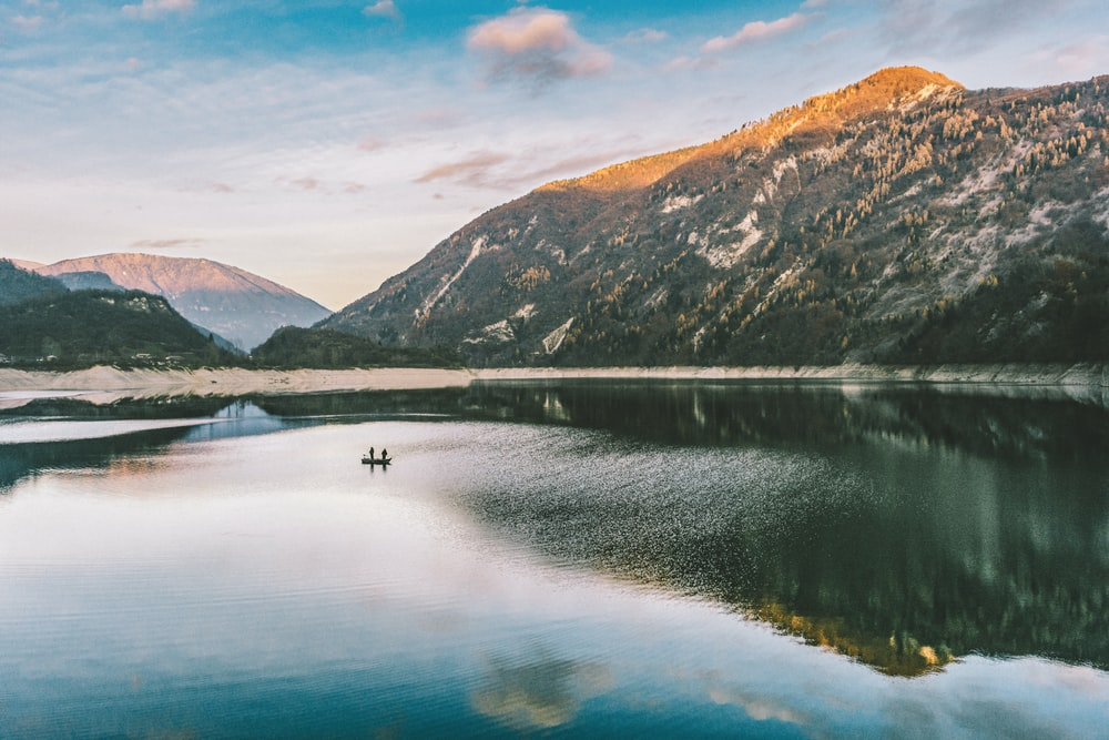 landscape photography of mountain near body of water