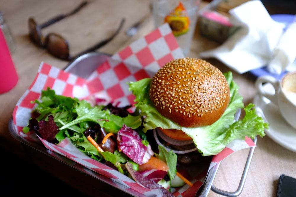 hamburger with tray