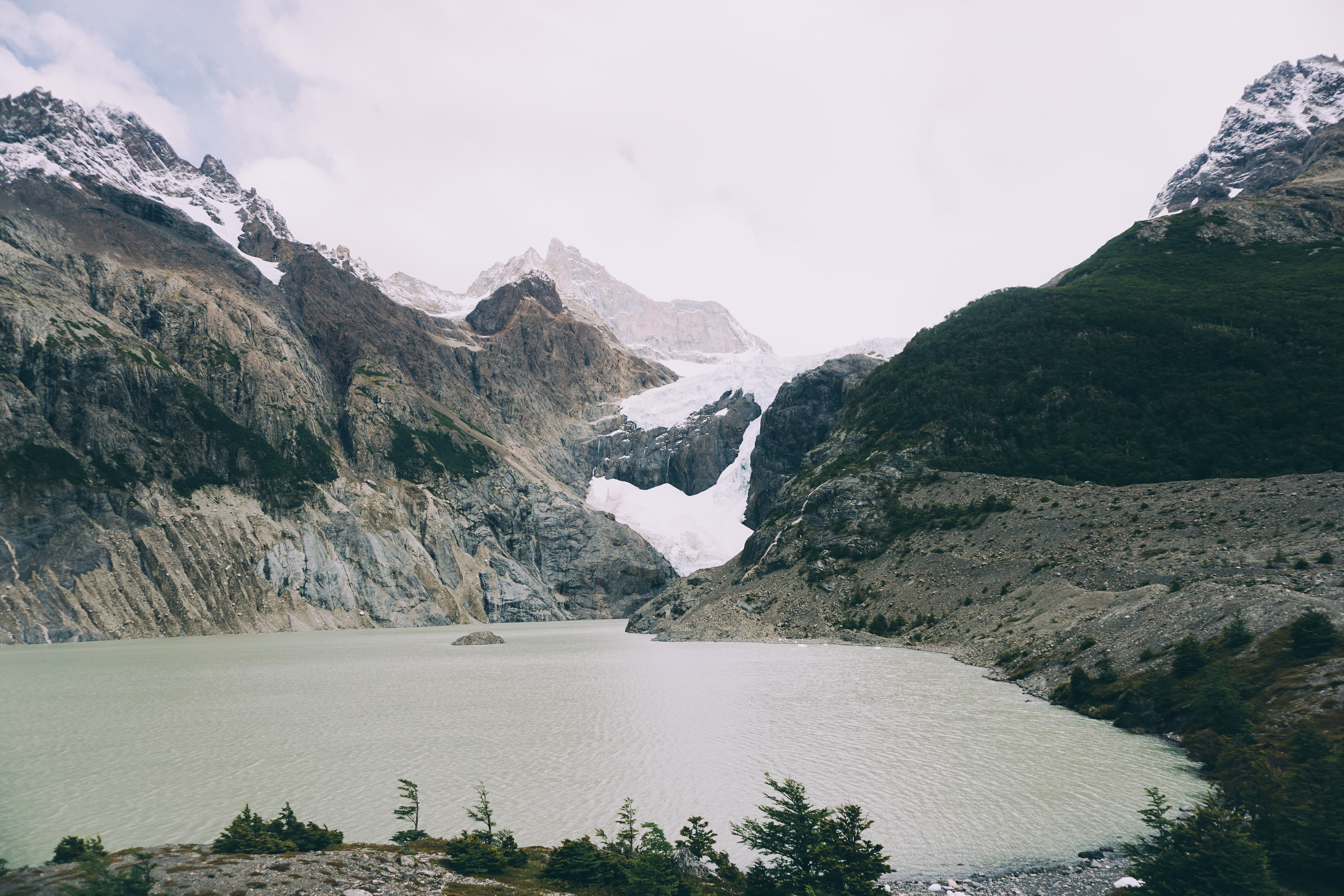 A lake near a mountain glacier in Torres del Paine National Park