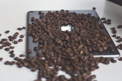 coffee beans on iPad