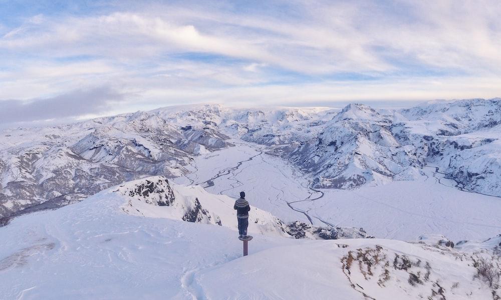 man standing on snowfield