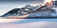 mountain range and snowy field photo