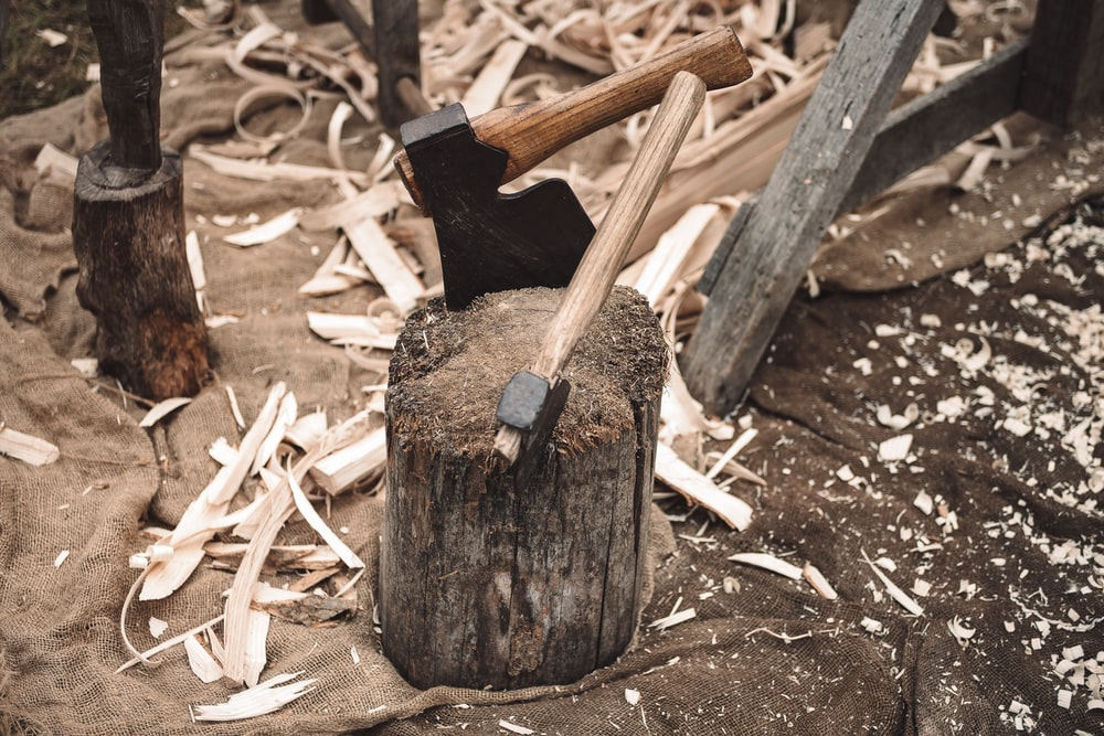 two axe on wood