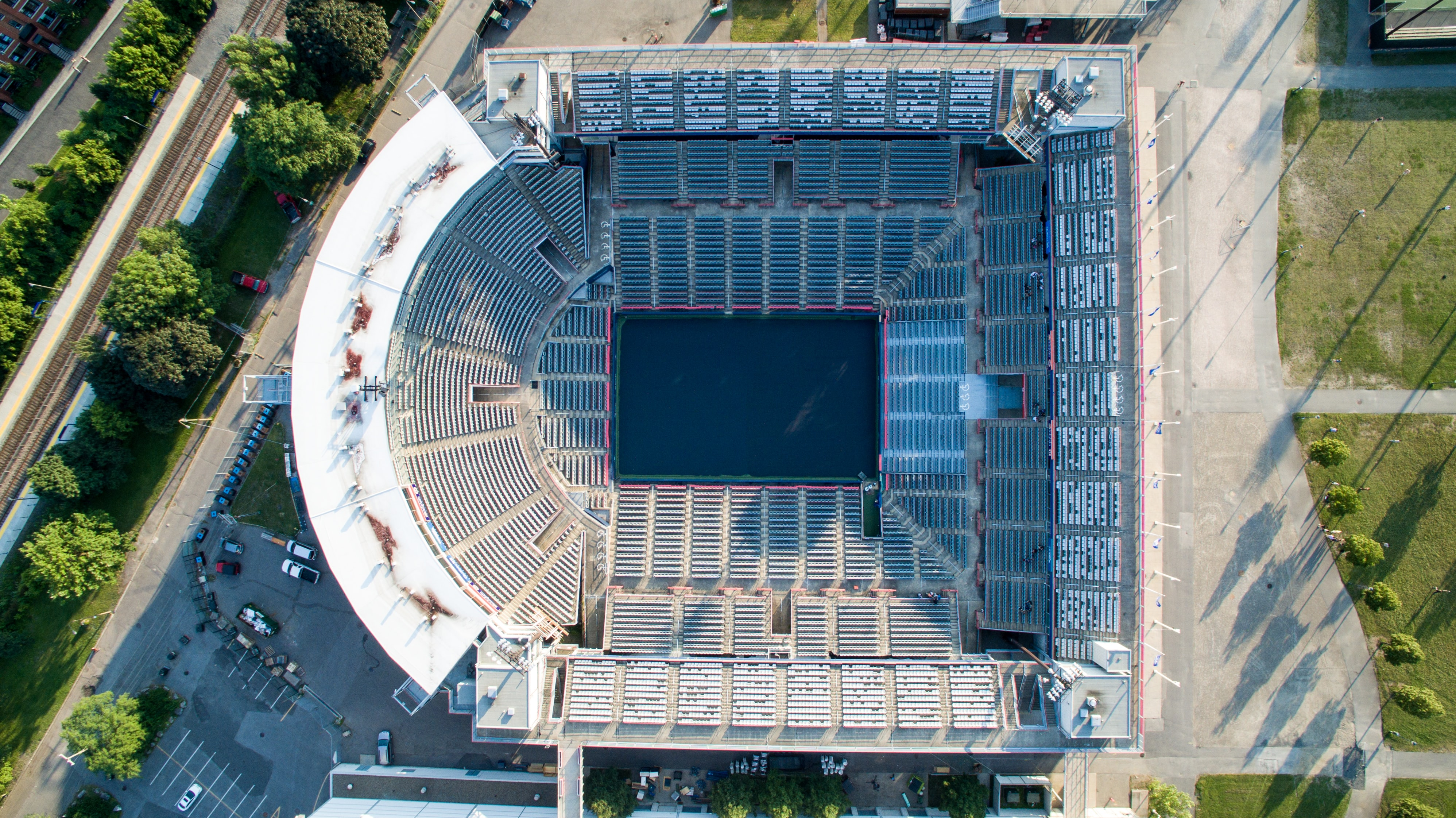 aerial photography of grey concrete stadium