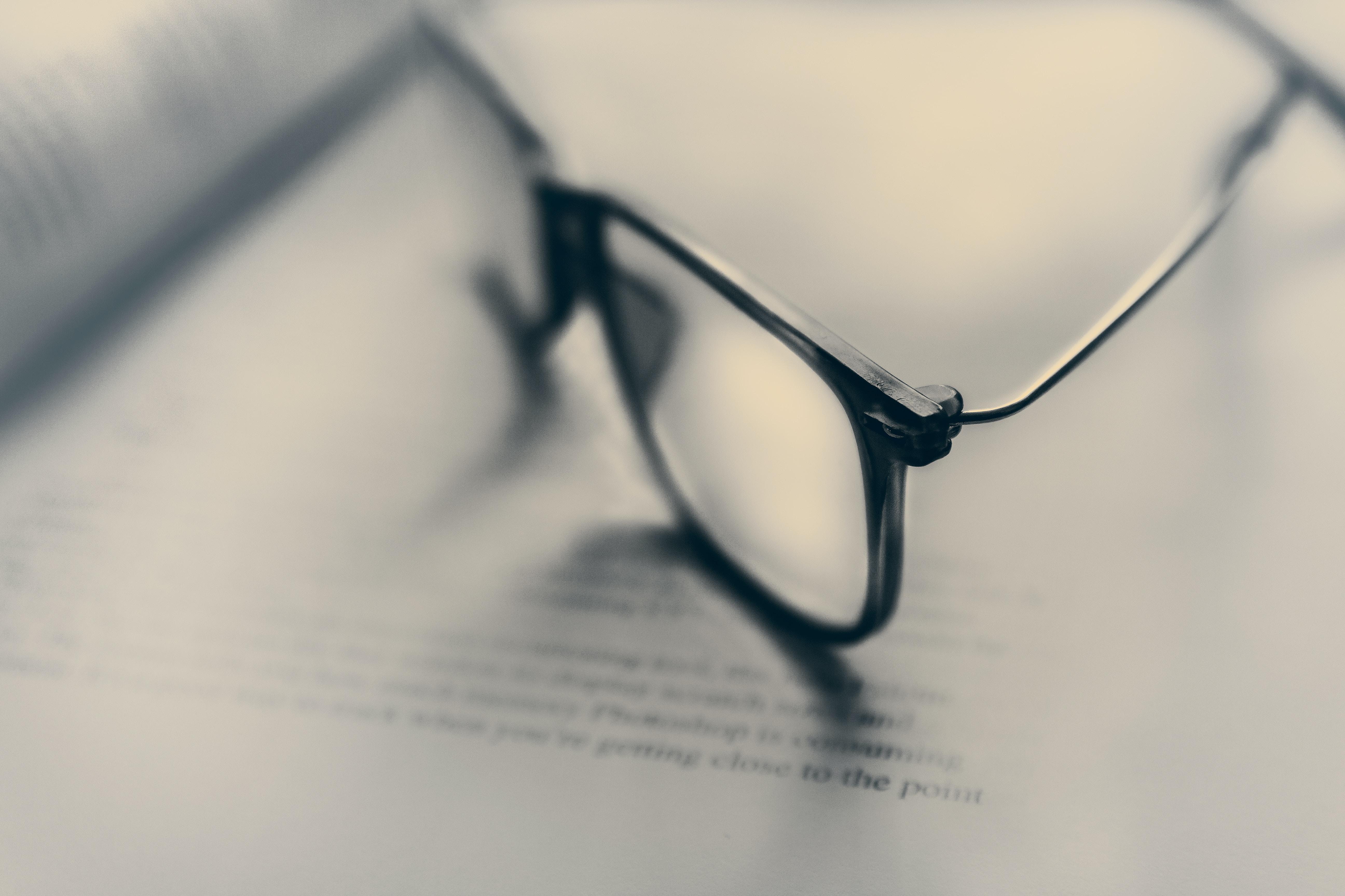 eyeglasses in bokeh photography