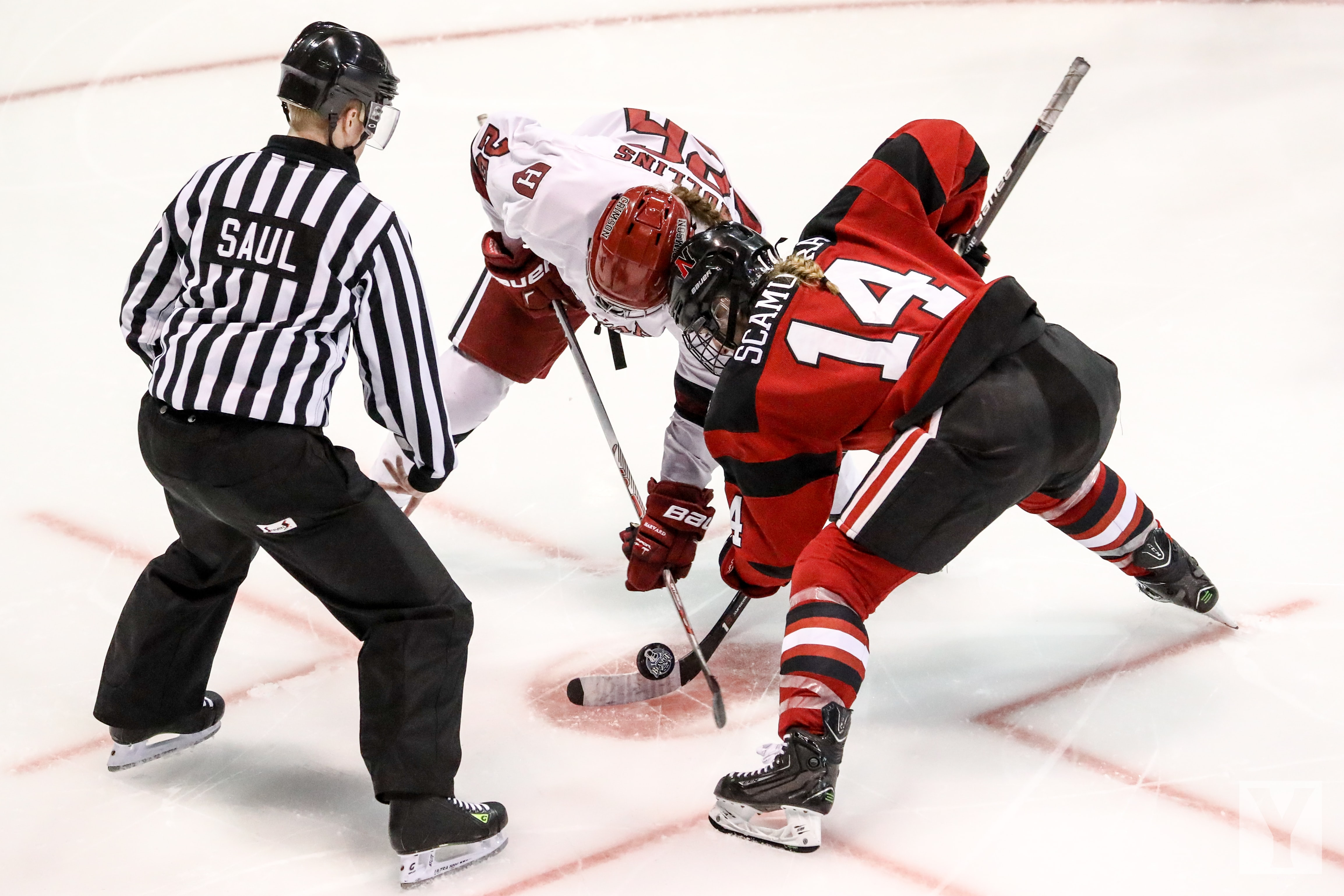A faceoff at the Matthews Arena between two players
