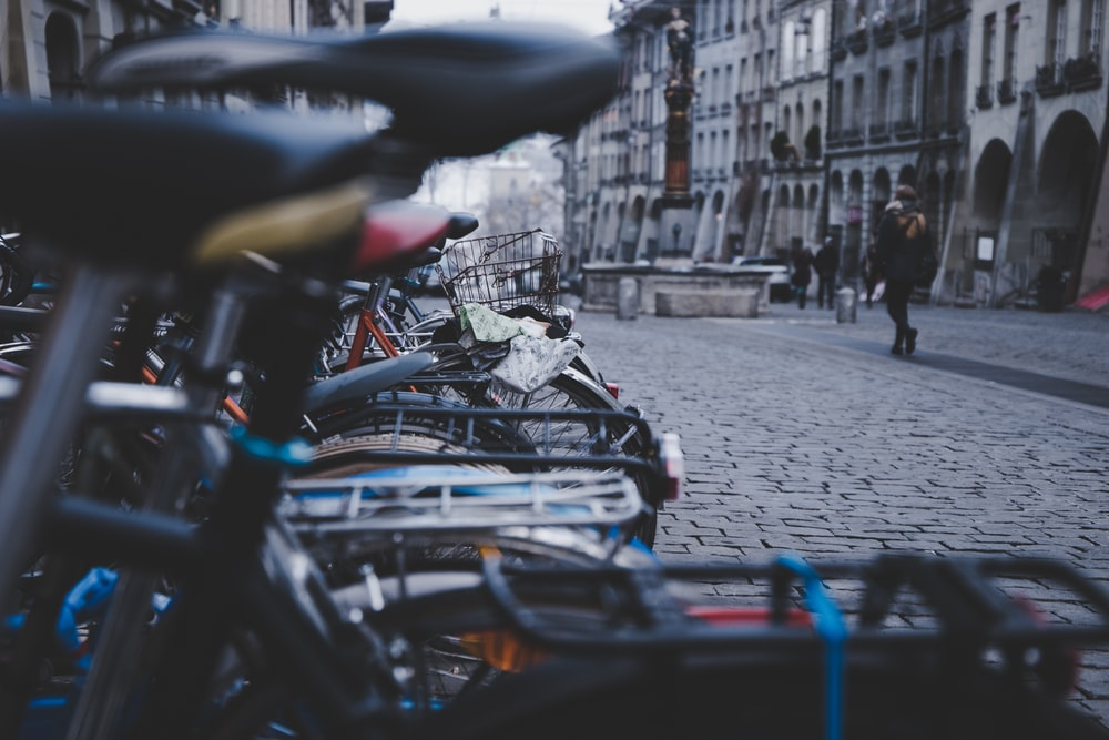 photo of bicycle parking on road