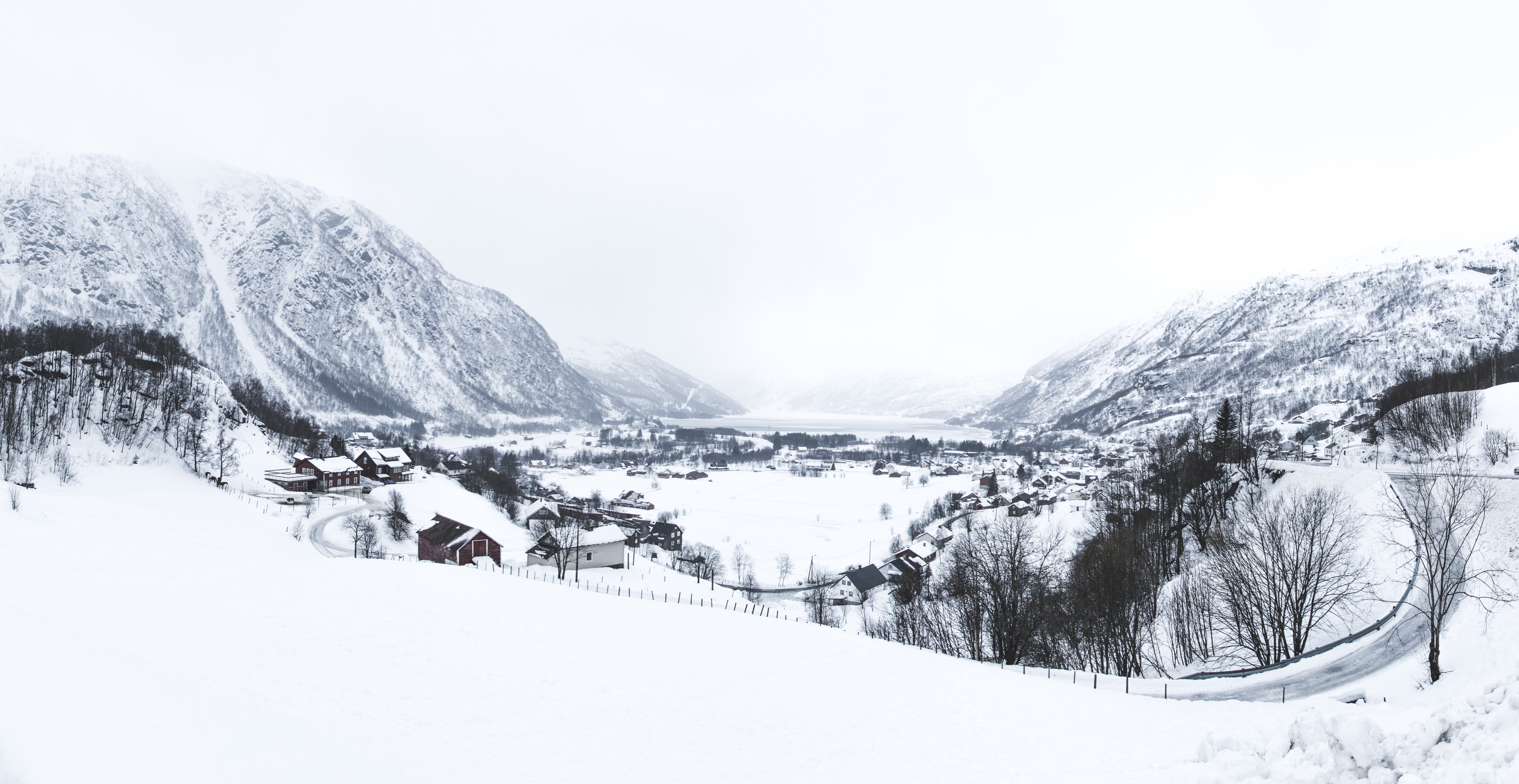 village coated with snow