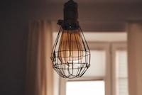 black pendant lamp in shallow focus