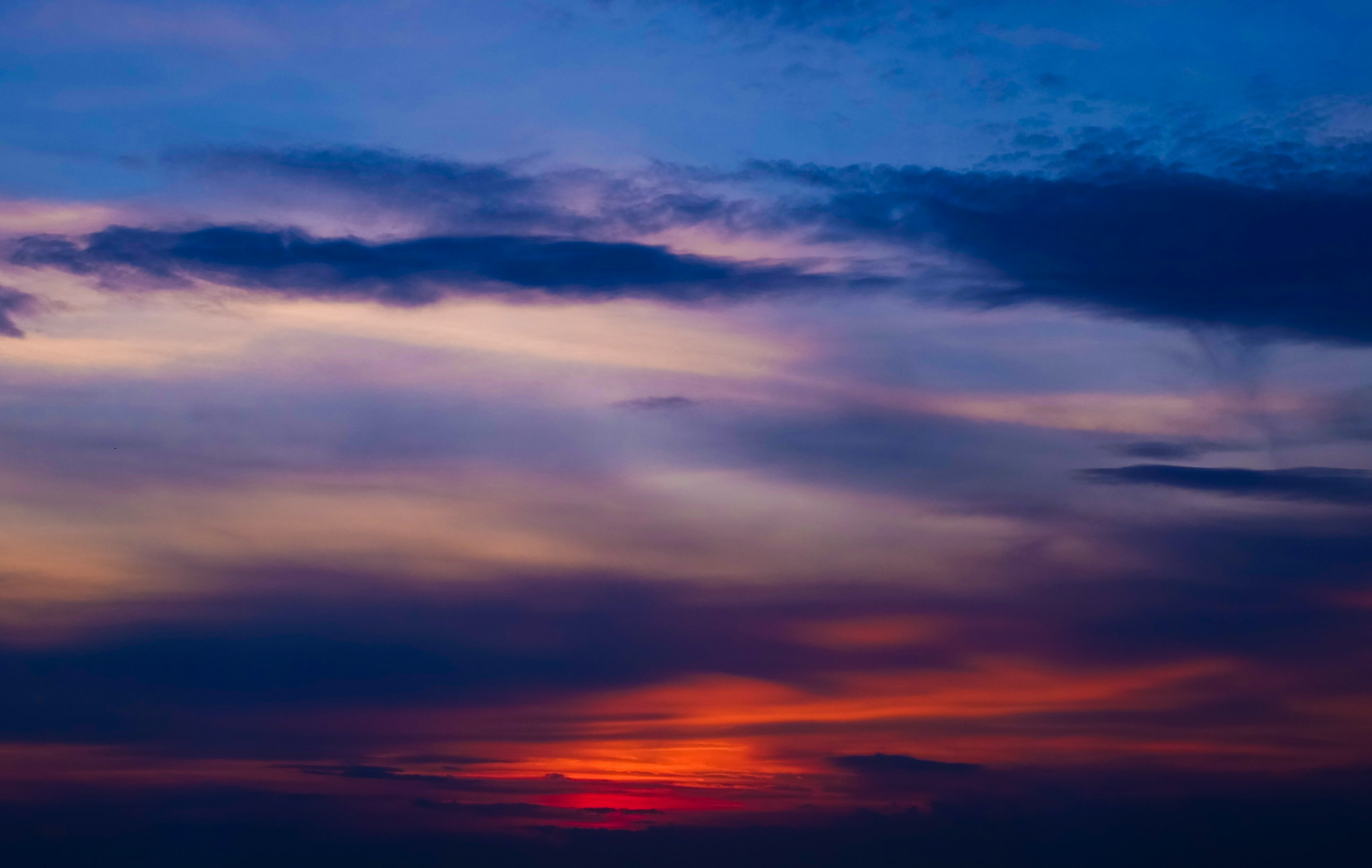 A red and blue cloudy sunset