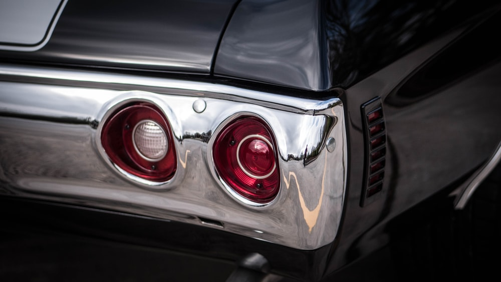 two red vehicle taillights