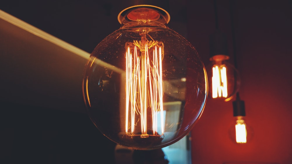 lighted filament of bulbs