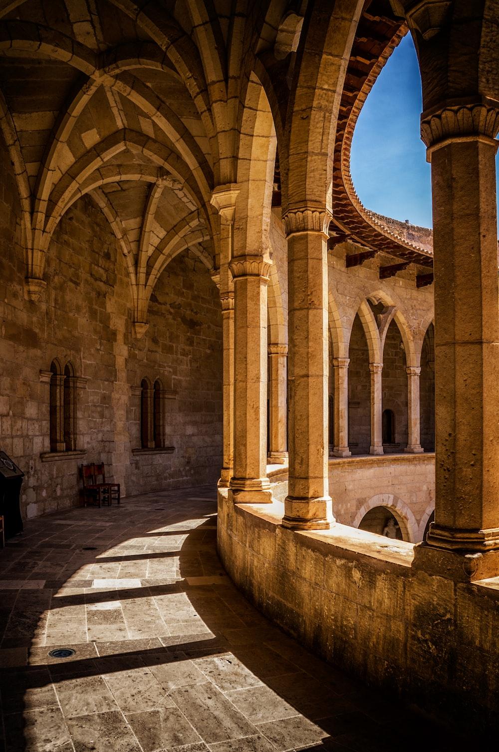 brown concrete pillars