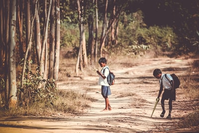 two boys standing on road near tree at daytime childhood zoom background