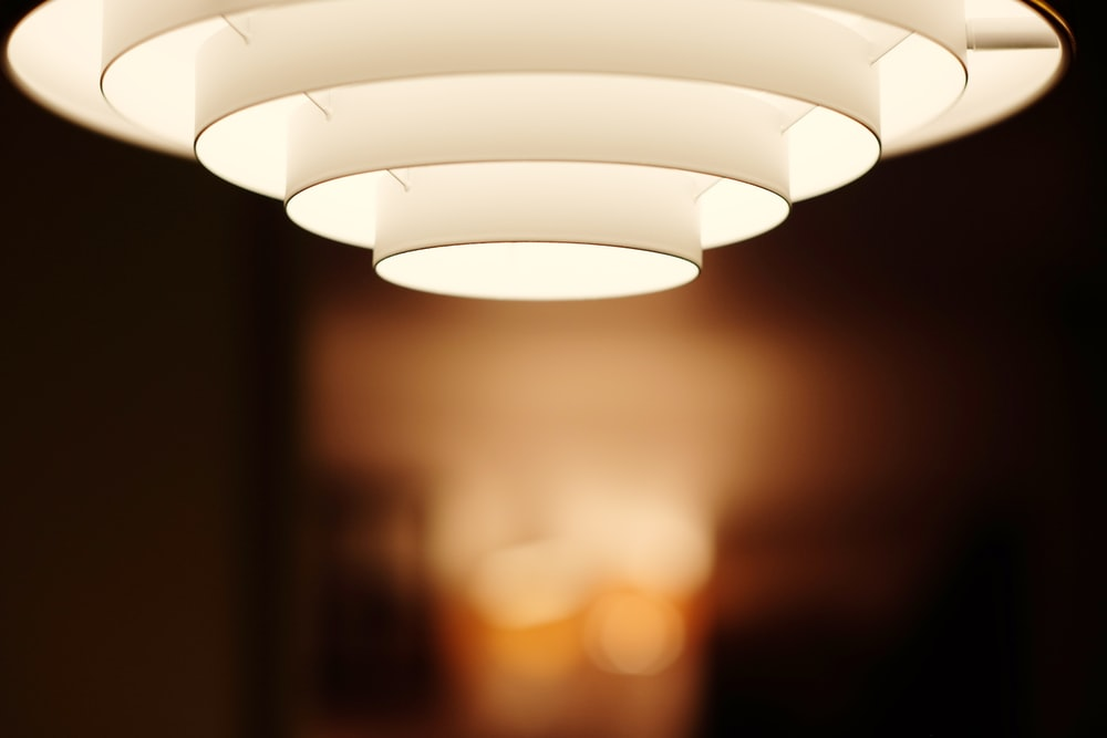 selective focus photo of white ceiling light
