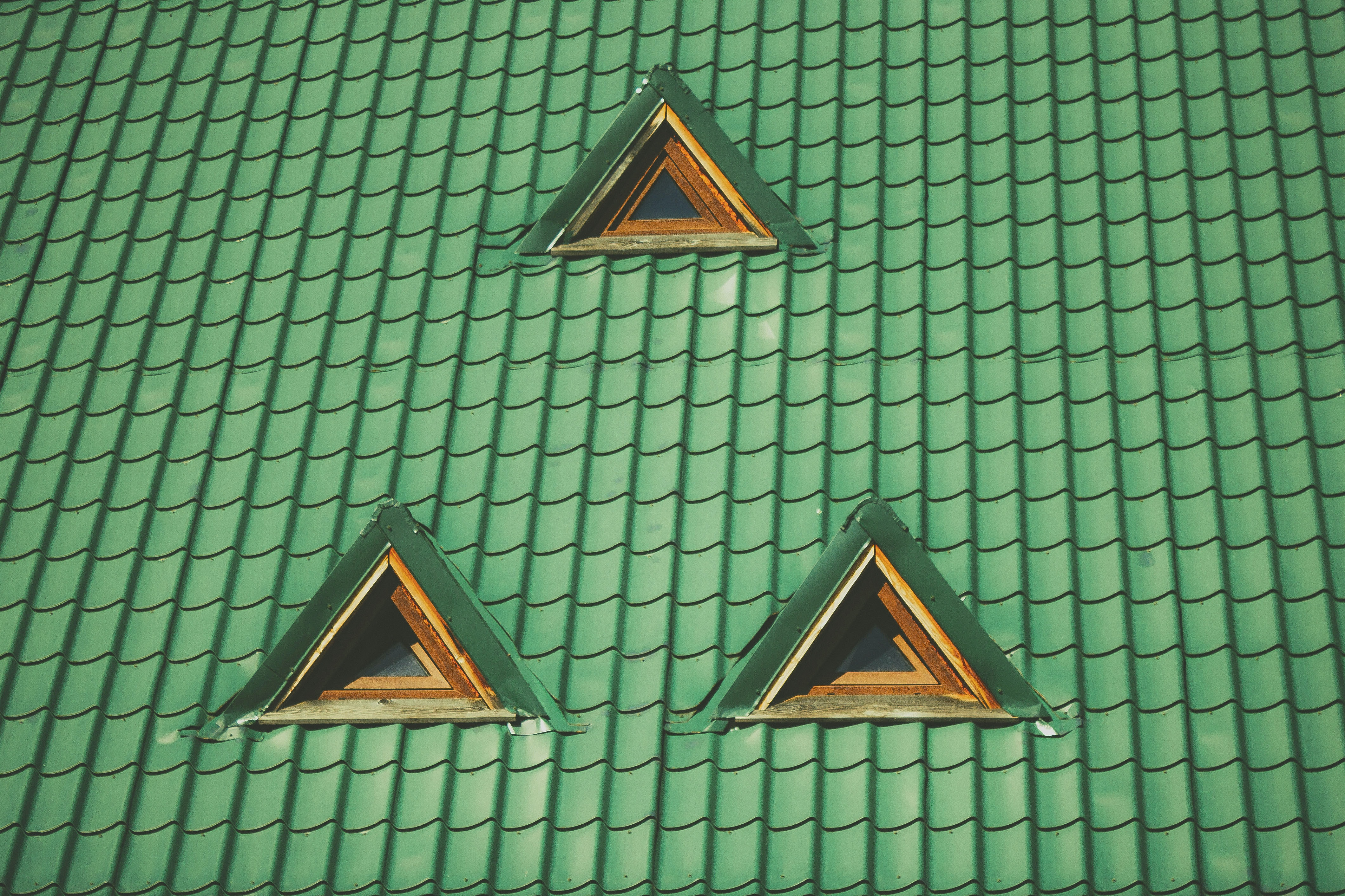photo of green tiled roof