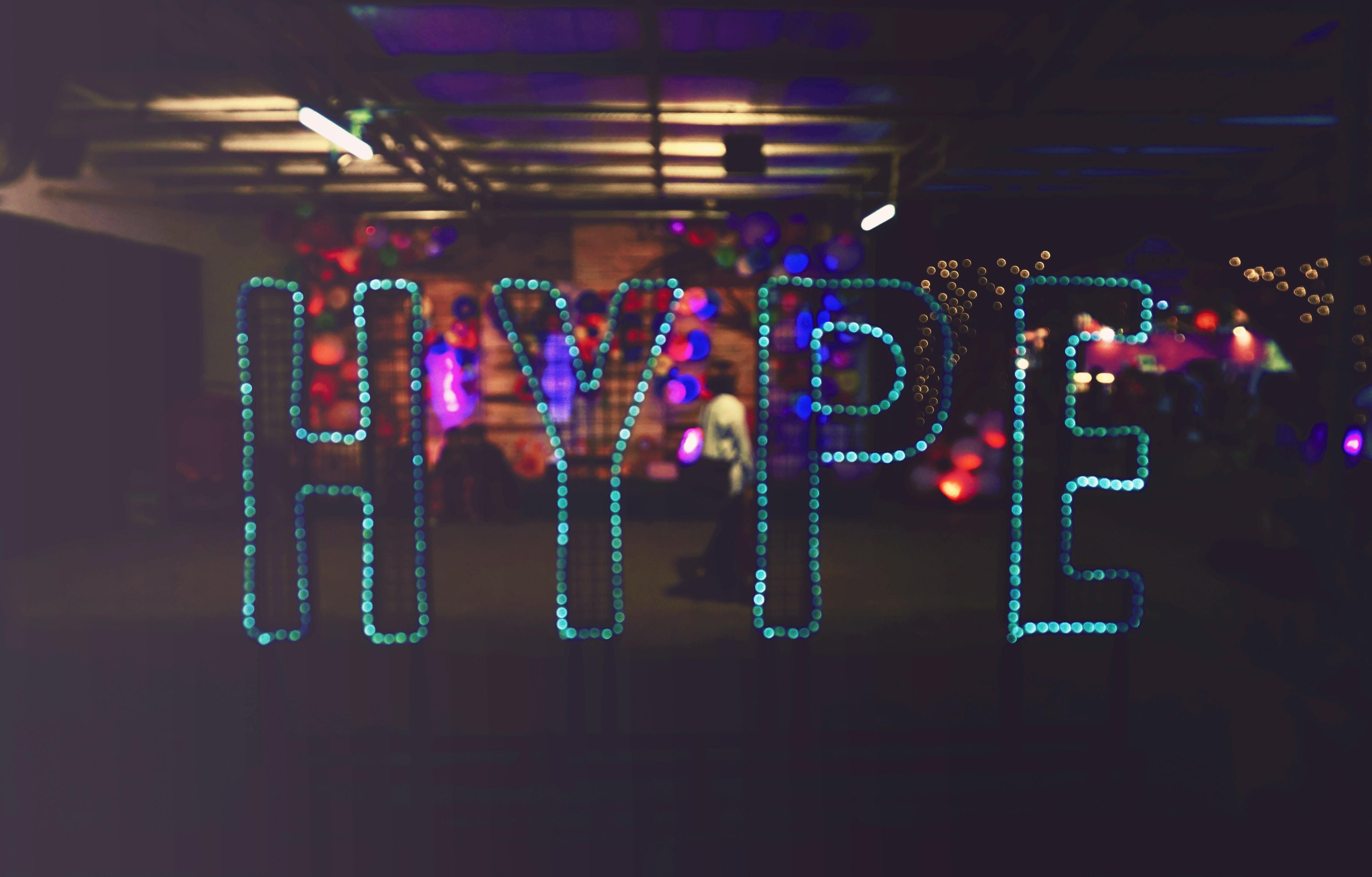 blue LED Hype sign