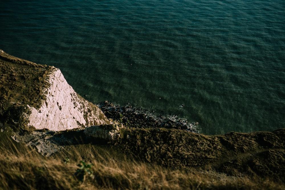 green grass cliff beside green body of water
