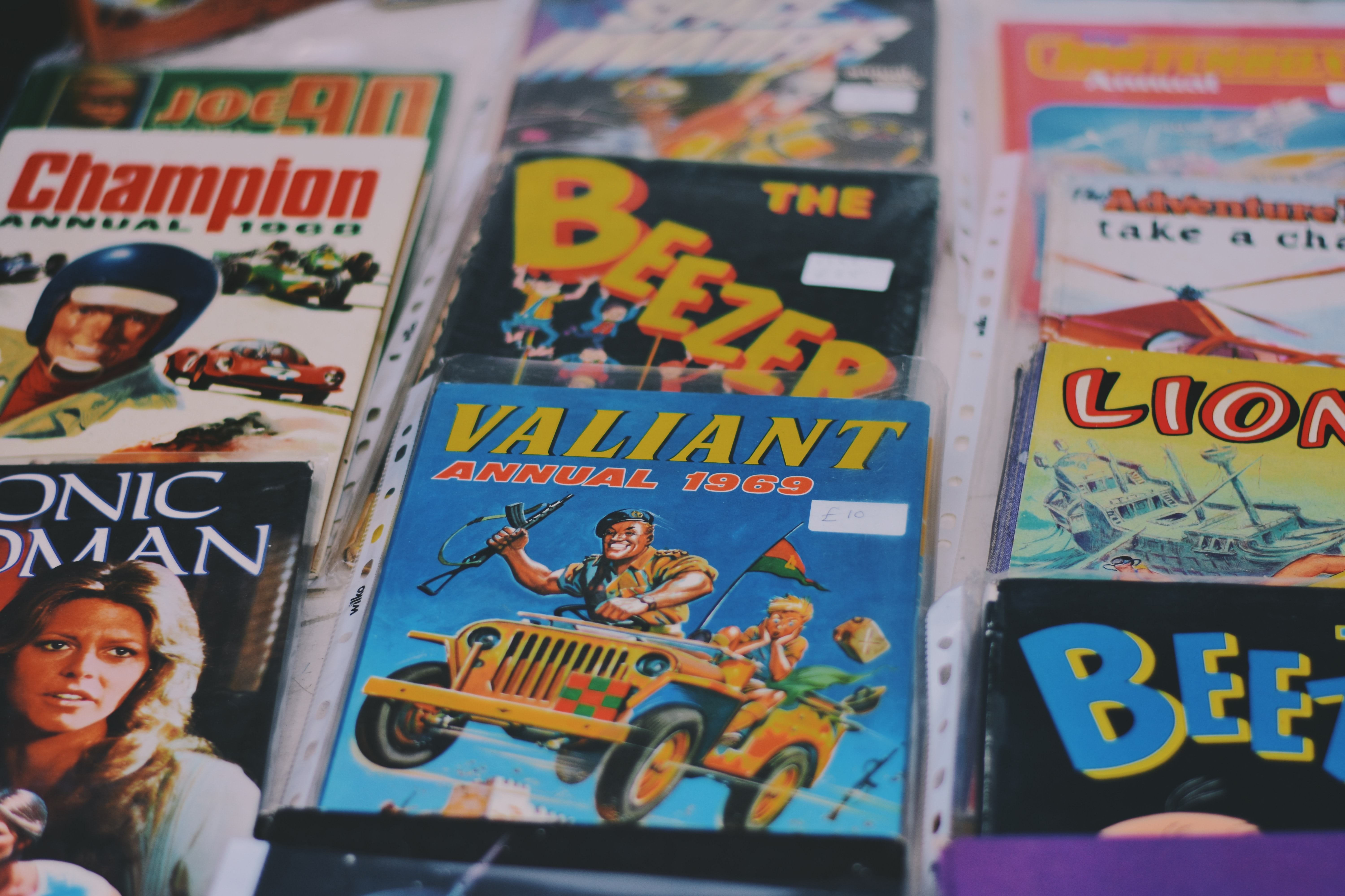 Vintage comic books for sale at a shop