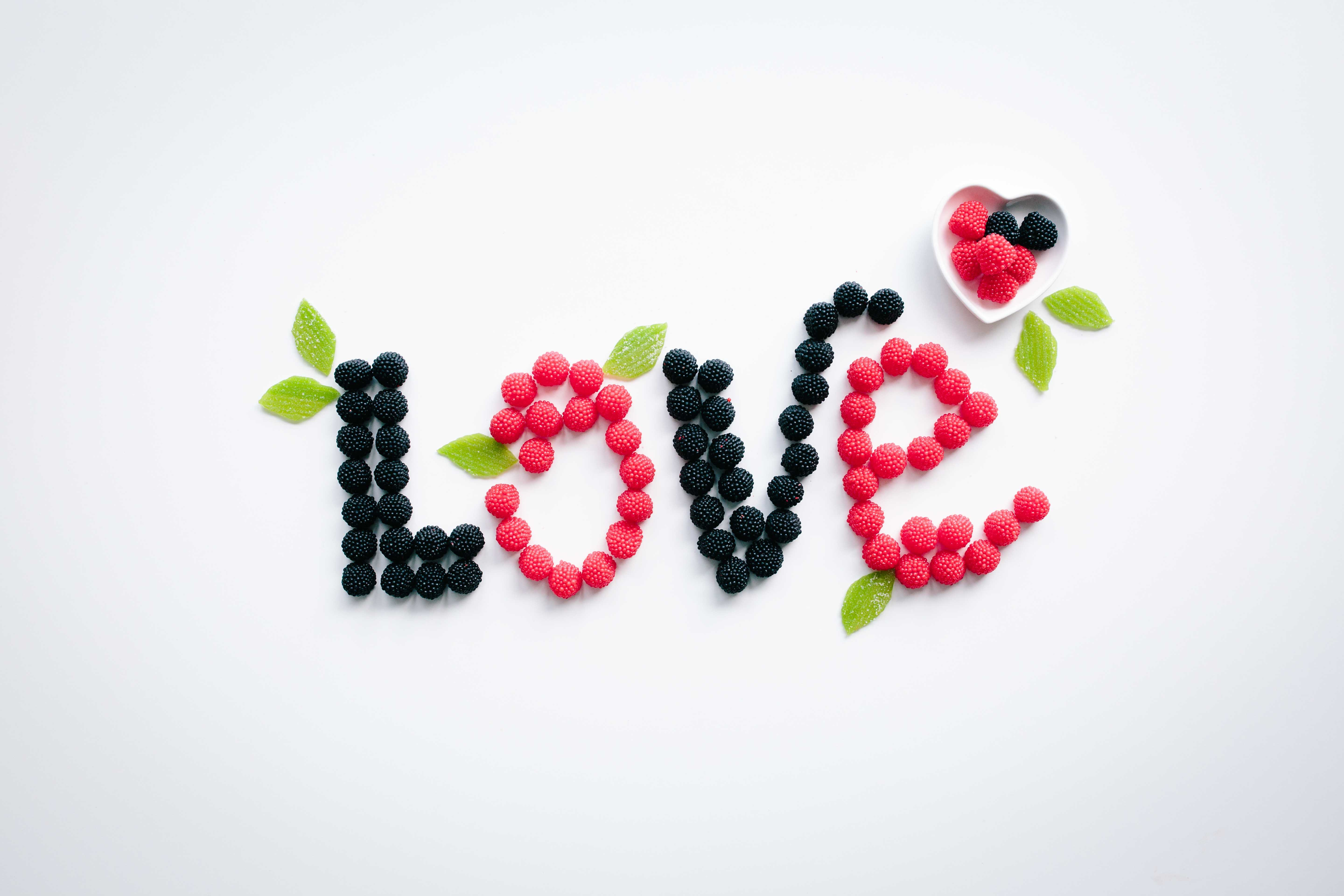 "Fruits shaped to spell the word ""Love."""