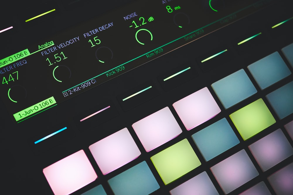 closeup photo of turned on digital midi controller
