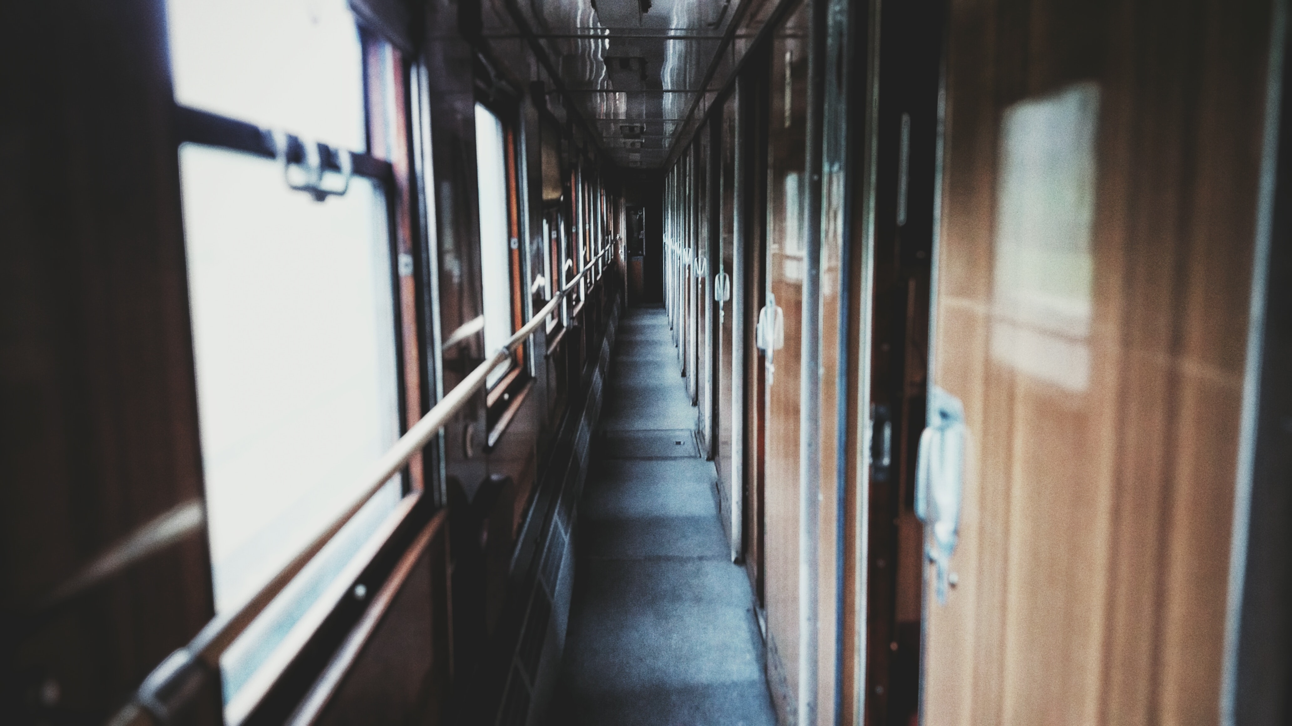The corridor in an old passenger train