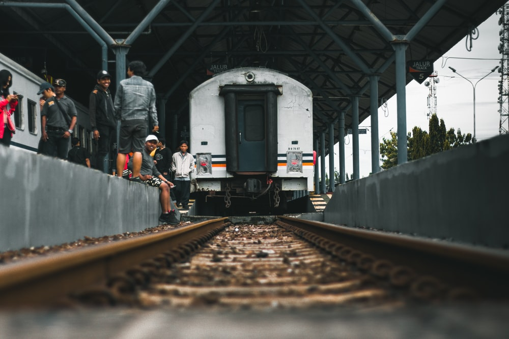 selective focus photography white and black train